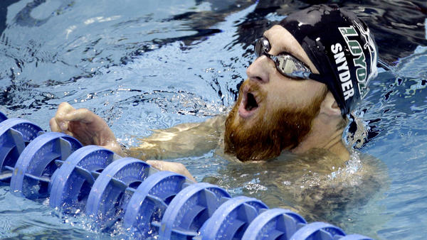 Brad Snyder takes a deep breath after a heat in the 400-meter freestyle race at the U.S. Paralympic trials June 30. (Chuck Burton / Associated Press)