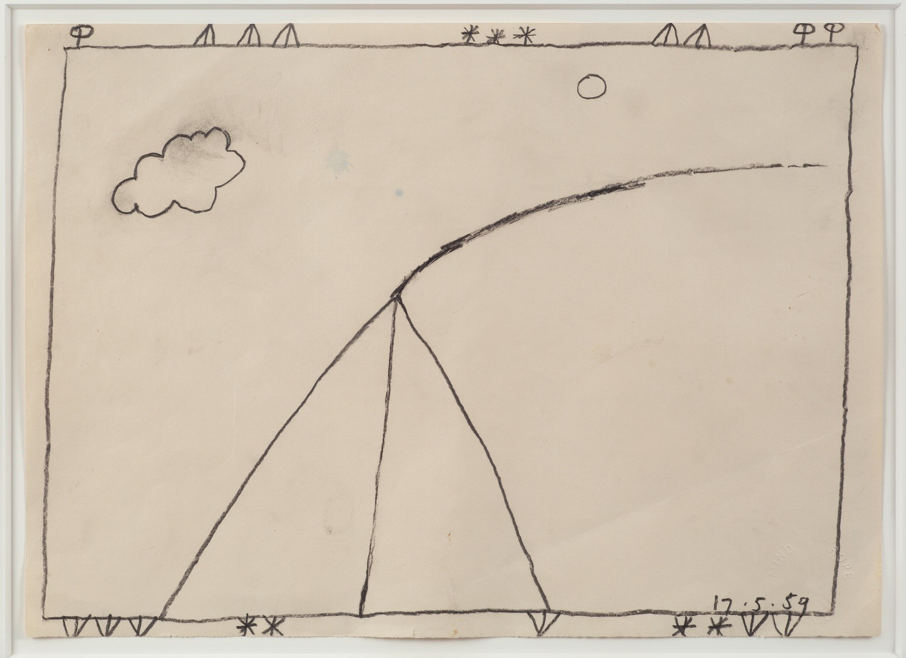 "Bob Law's ""Drawing 17.5.59,"" 1959, pencil on paper, 10 by 14 inches."