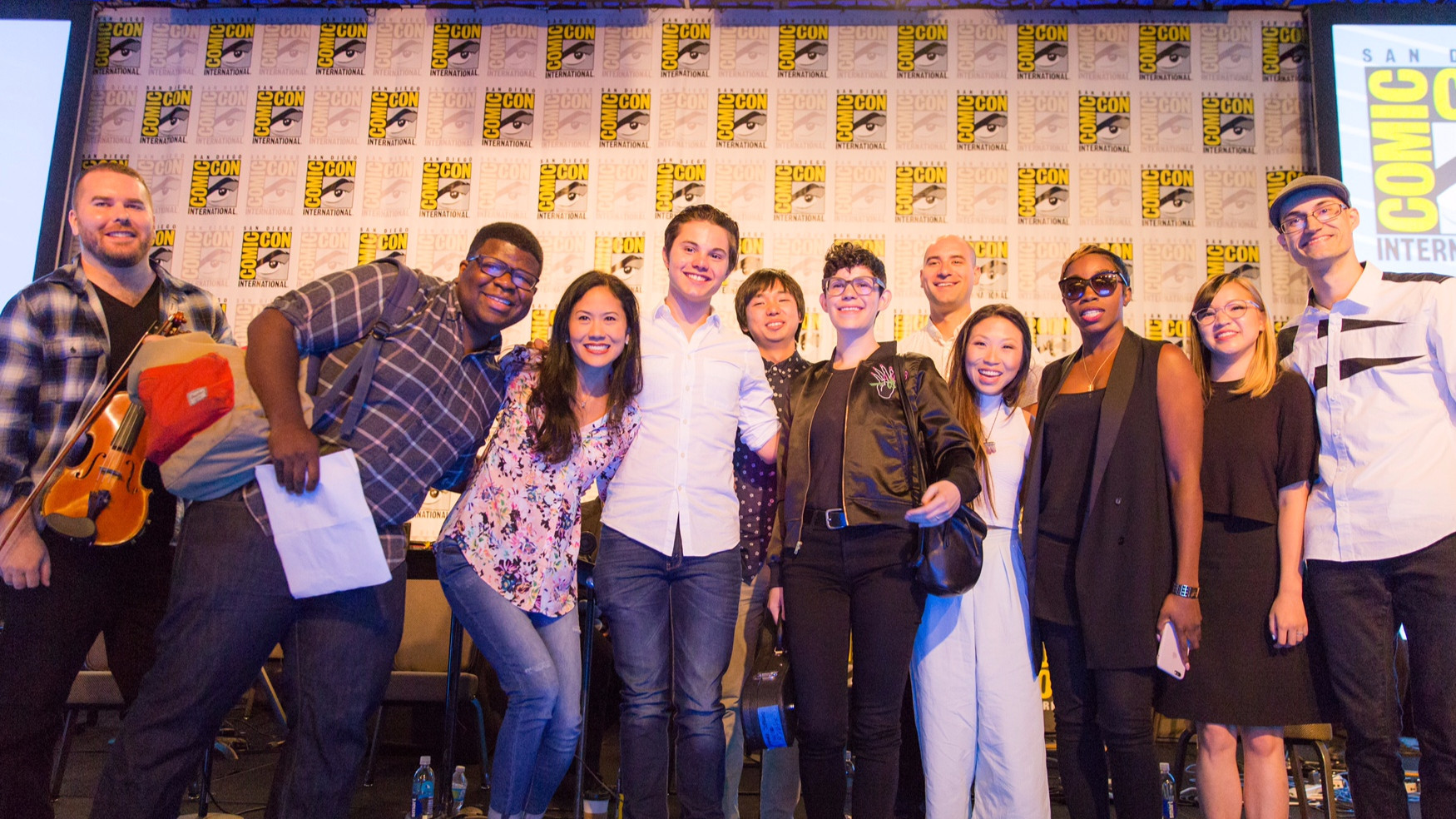 """Steven Universe"" panelists, from left, Jeff Ball, Ian Jones-Quartey, Deedee Magno Hall, Zach Callison, Jeff Liu, Rebecca Sugar, Ben Levin, Michaela Dietz, Estelle, Aivi Tran and Steven ""Surasshu"" Velema."
