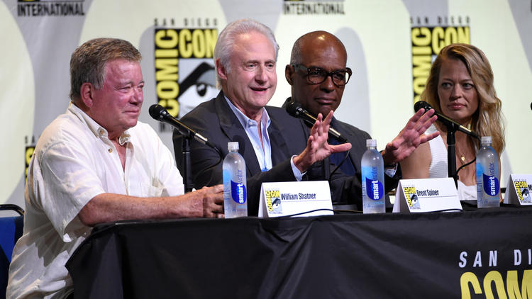 "William Shatner, from left, Brent Spiner, Michael Dorn and Jeri Ryan attend the ""Star Trek"" panel on day 3 of Comic-Con International on July 23 in San Diego. (Chris Pizzello / Invision)"