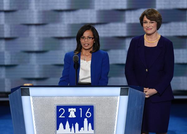 Human trafficking survivor Ima Matul speaks at the Democratic National Convention in Philadelphia. (Saul Loeb / AFP/Getty Images)
