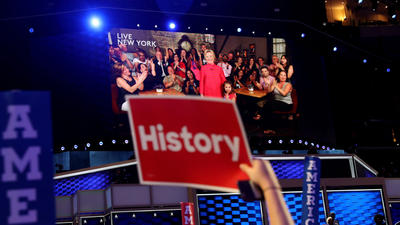 History takes the stage: Hillary Clinton becomes the first woman to lead a major-party ticket