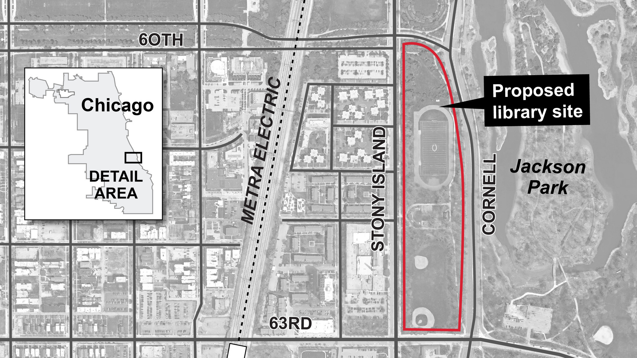 Map of proposed Obama Library site Chicago Tribune