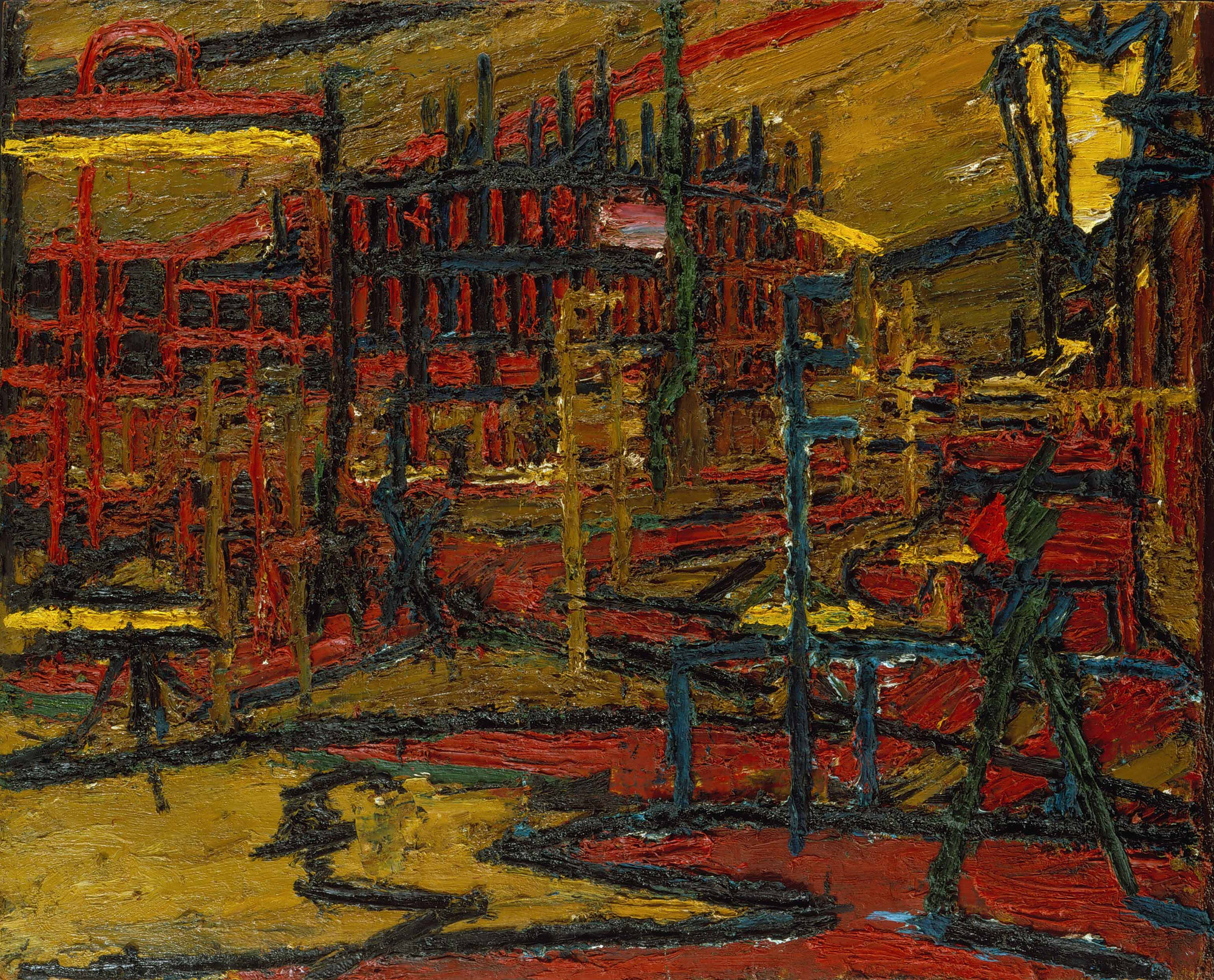 "As war-ravaged London was being rebuilt, Frank Auerbach used images such as the 1966 ""Mornington Crescent with the Statue of Sickert's Father-in-Law"" to physically rebuild painting"