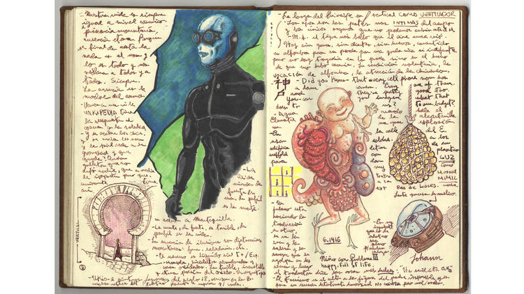 A page from a notebook by Guillermo del Toro, from a show of the filmmaker's work at LACMA.
