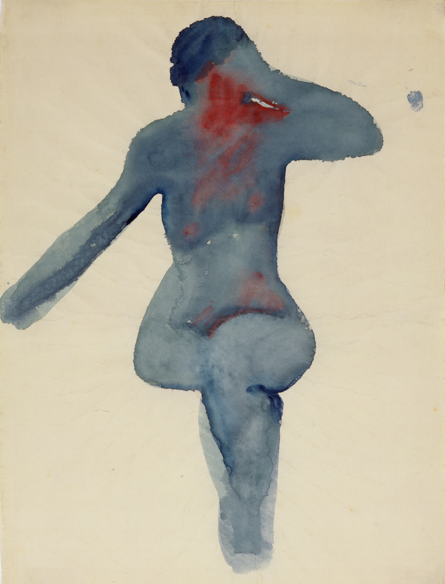 """Nude Series VIII,"" 1917, watercolor on paper, 18 inches by 13-1/2 inches. Georgia O'Keeffe Museum Gift of the Burnett Foundation and the Georgia O'Keeffe Foundation."