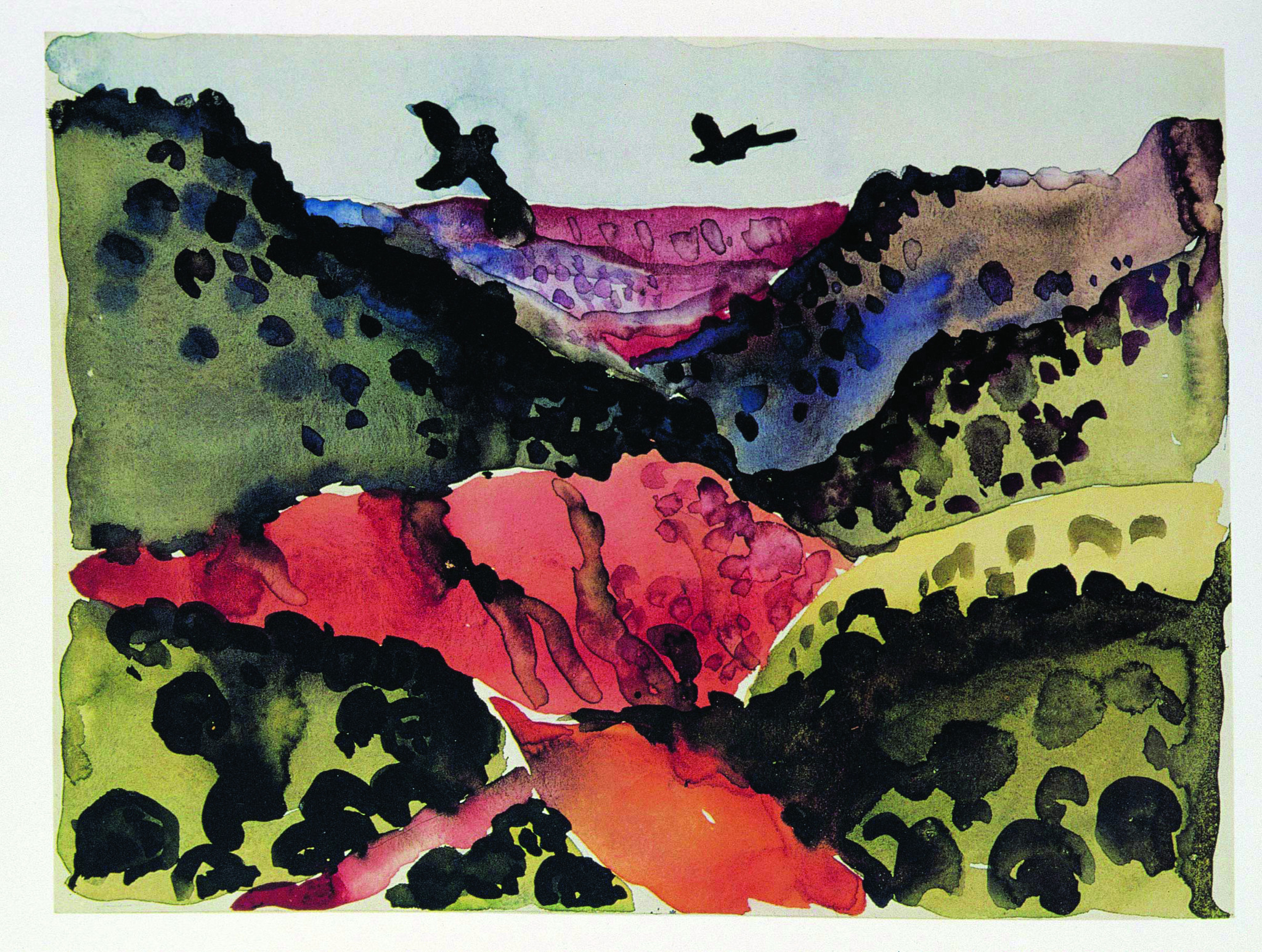 """Canyon With Crows,"" 1917, watercolor and graphite on paper, 8-3/4 inches by 12 inches. Georgia O'Keeffe Museum Gift of the Burnett Foundation."
