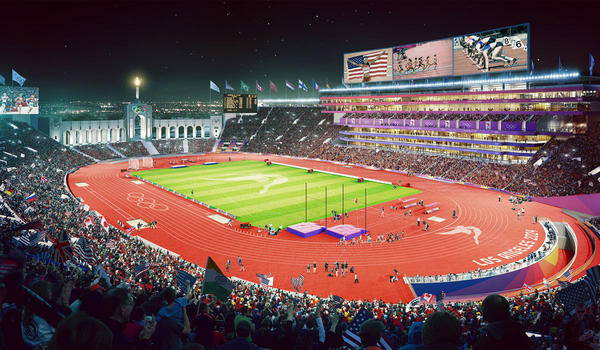 Artist's rendering of an updated Coliseum (From LA 2024)