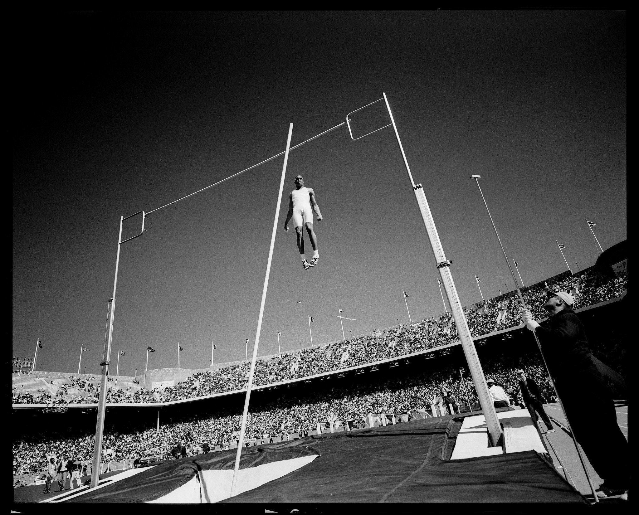 A pole vaulter at the U.S. Olympics trials in Philadelphia in 1996.
