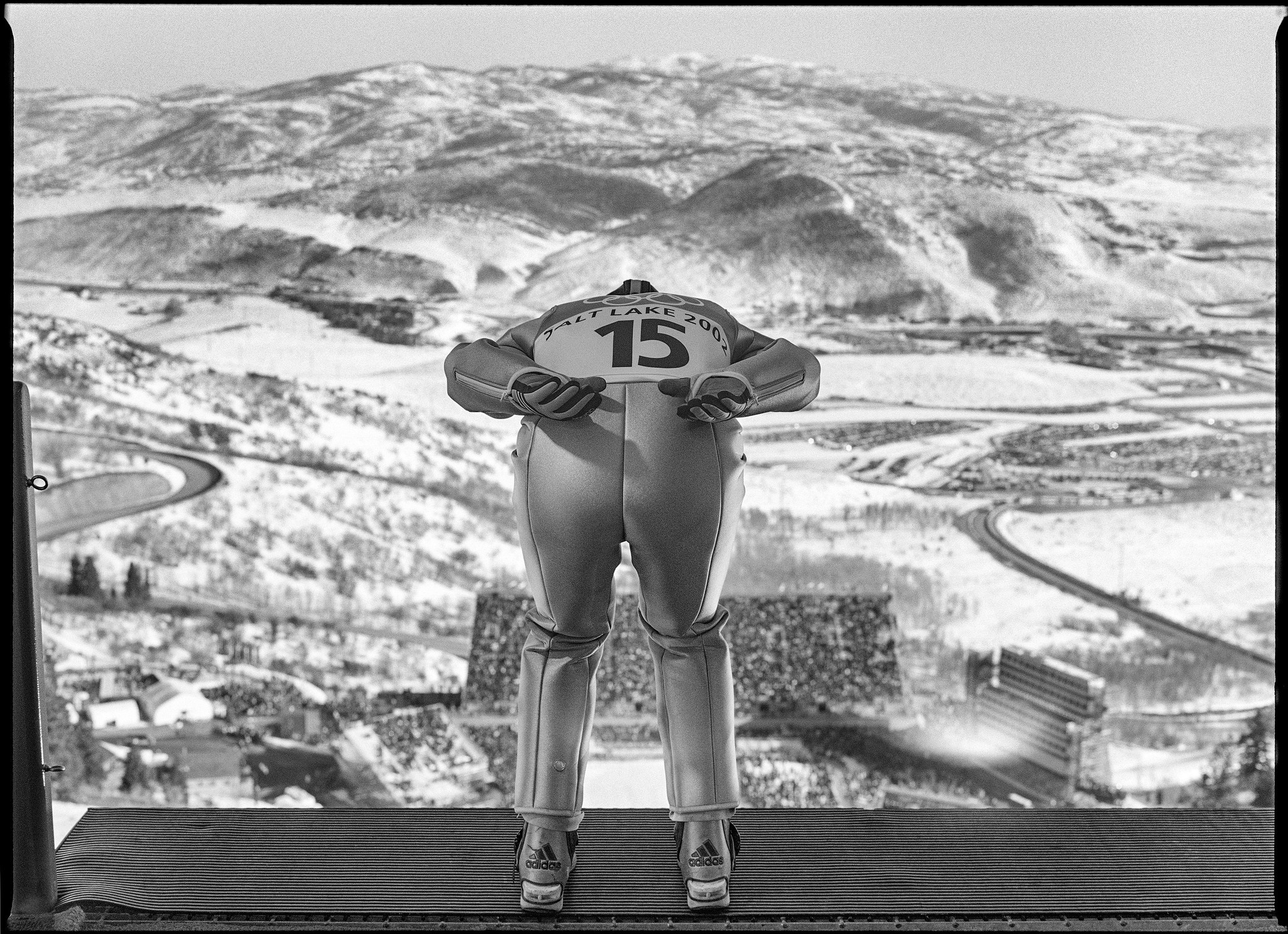An Olympics ski jumper preparing to take off in Park City, Utah, in 2002.