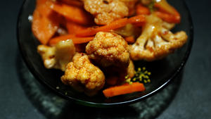Carrots, cauliflower and fennel with harissa and caraway