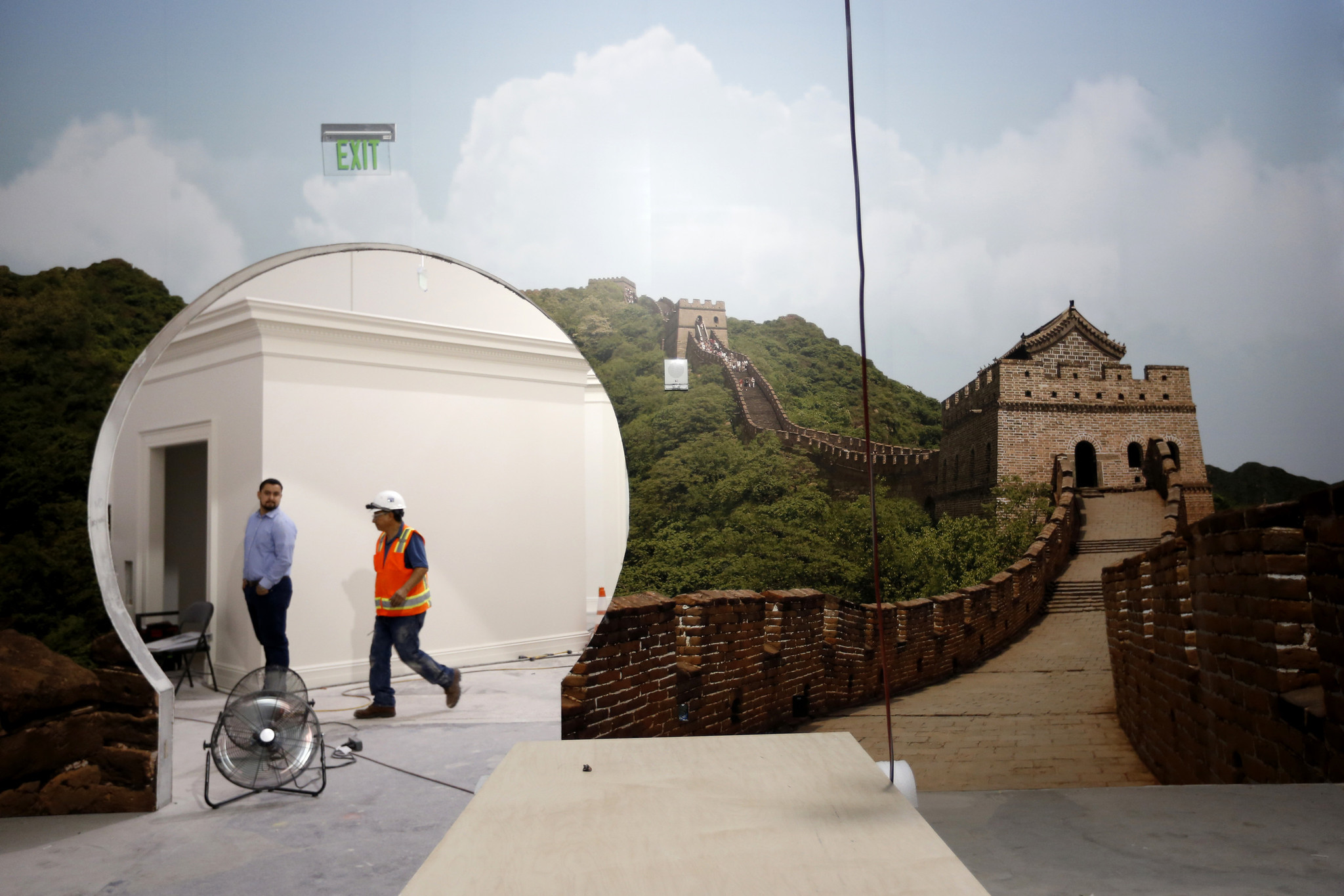 A depiction of The Great Wall of China commemorating President Nixon's visit to the People's Republic of China, located in the Presidency Room under construction during a tour of the new Richard Nixon Library and Museum.