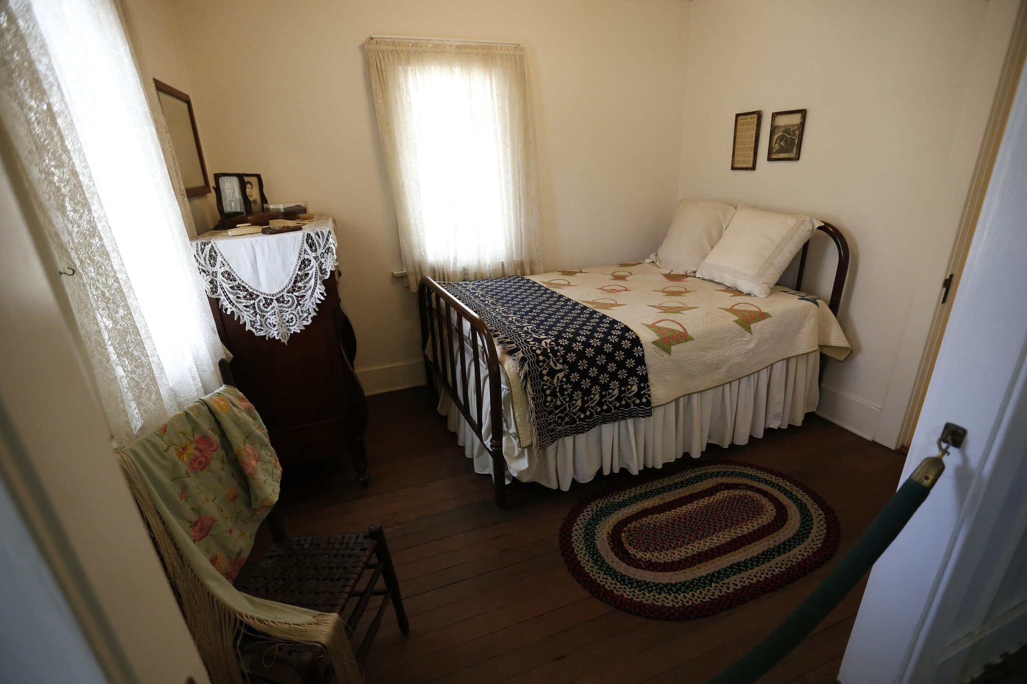 The bedroom where President Nixon was born at the Richard Nixon Birthplace located on the grounds of the Richard Nixon Library and Museum.