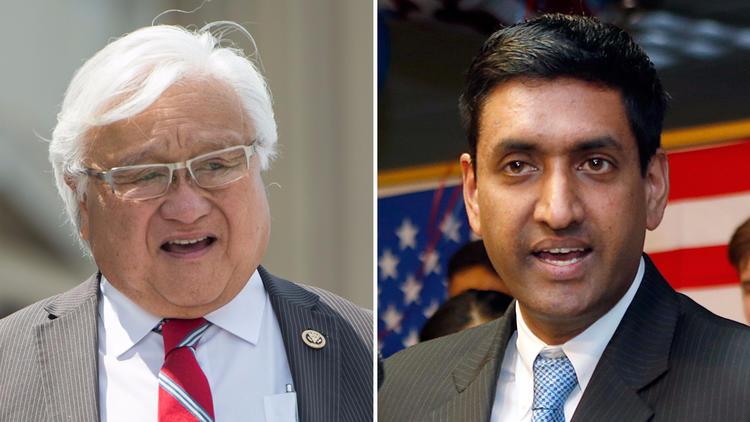 Rep. Mike Honda, (D-San Jose), left, and his challenger, Democrat Ro Khanna.