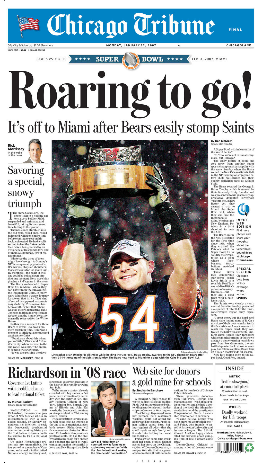Jan. 22, 2007 Chicago Tribune Bears advance to second Super BowlJan. 21, 2007: Bears advance to second Super Bowl