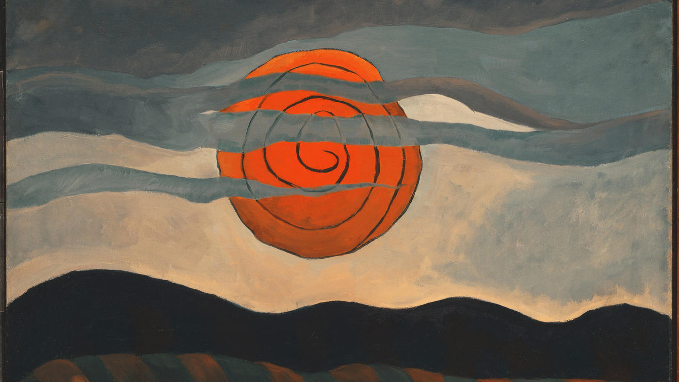 """Red Sun,"" 1935, by Arthur Dove — on view at the Orange County Museum of Art as part of an exhibit about the Duncan Phillips Collection."
