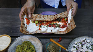 Druze wrap with labne and za'atar