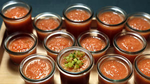 Melon and tomato gazpacho