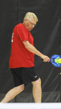 Bill Voight of Burr Ridge plays pickleball at Lifetime Fitness in Burr Ridge. (Mike Mantucca, Pioneer Press)