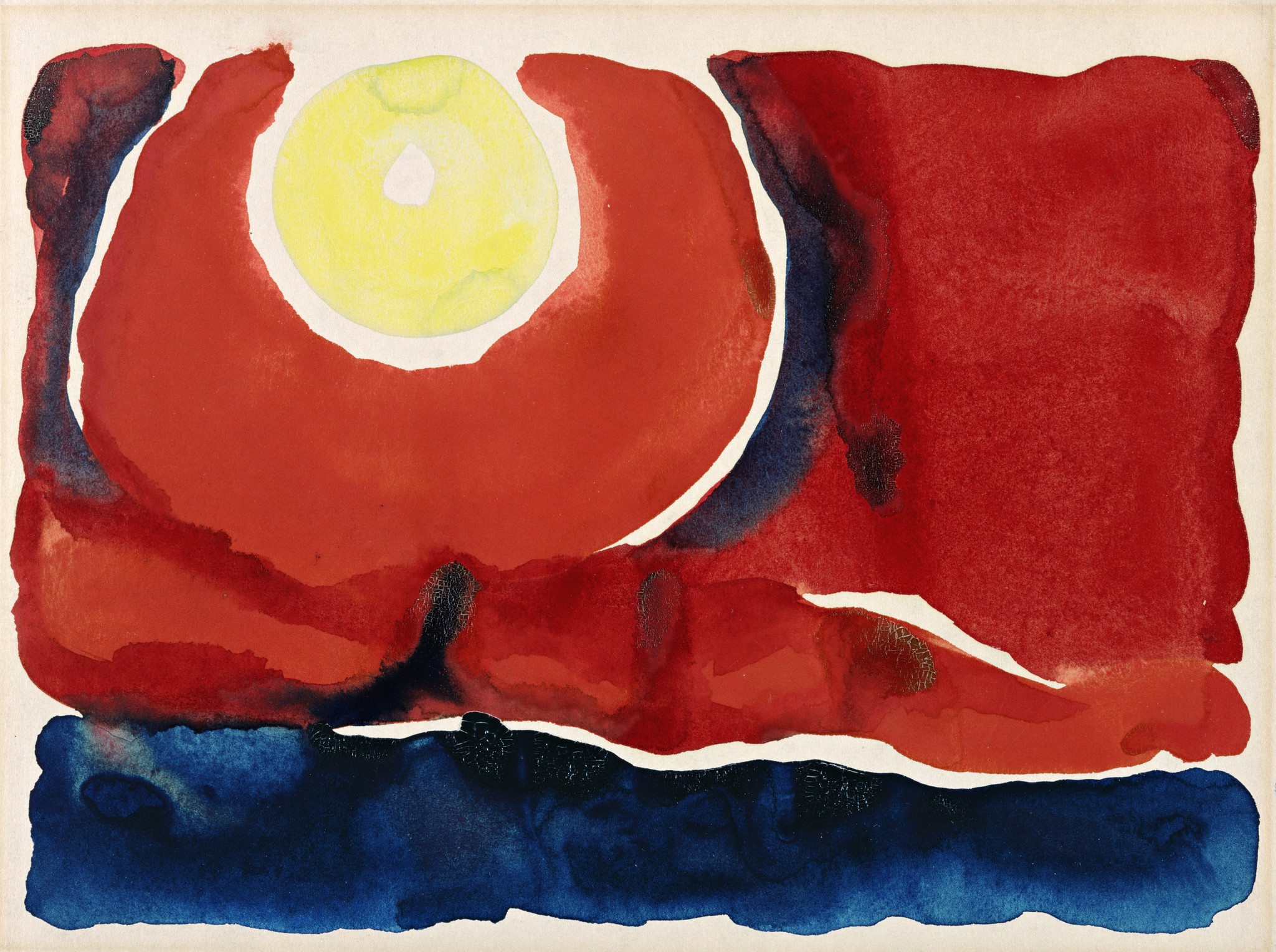 """Evening Star No. VI,"" watercolor on paper, 8-7/8 inches by 12 inches, Georgia O'Keeffe Museum Gift of the Burnett Foundation."