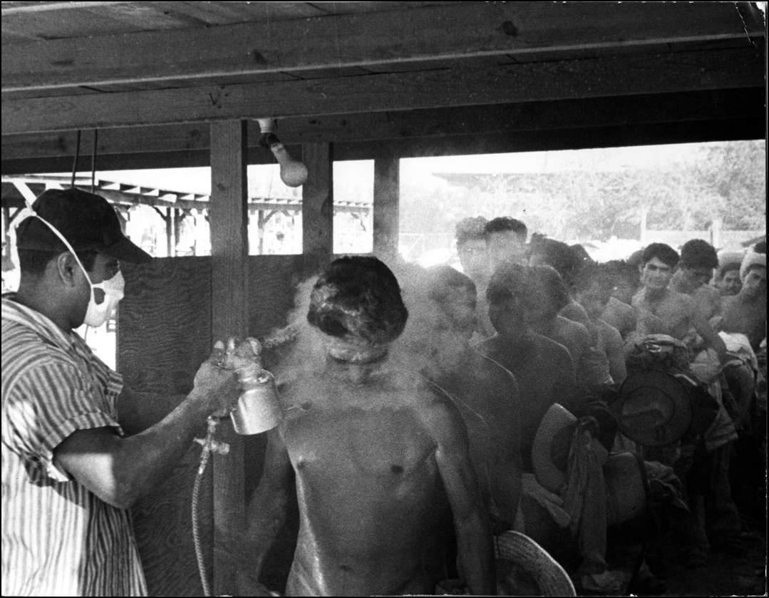 Bracero workers, hired for seasonal farm work, are sprayed with DDT after crossing the U.S.-Mexico border in 1956.