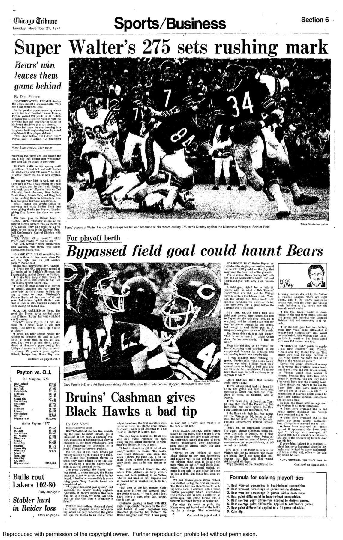 Nov. 20,1977: Walter Payton sets single-game rushing record