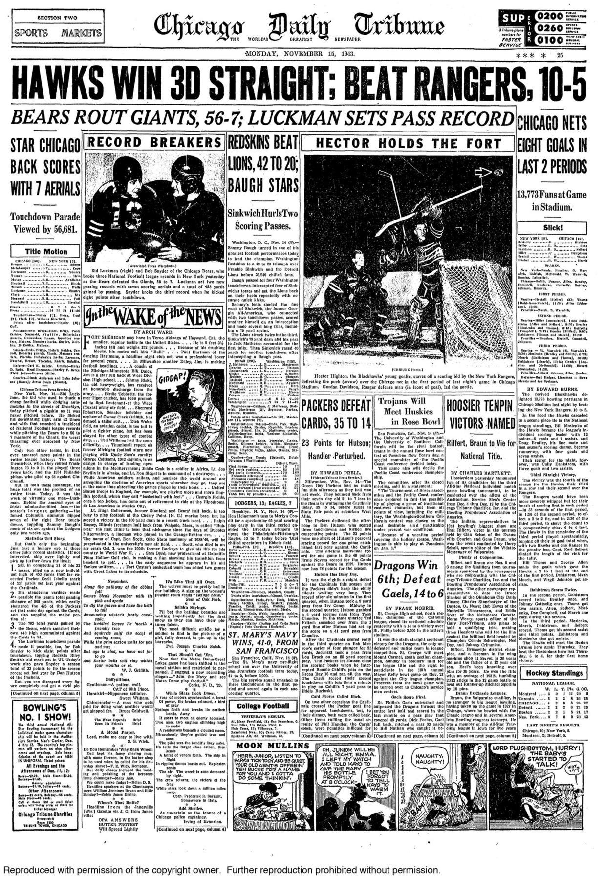 Nov. 14, 1943: Sid Luckman puts on an air show