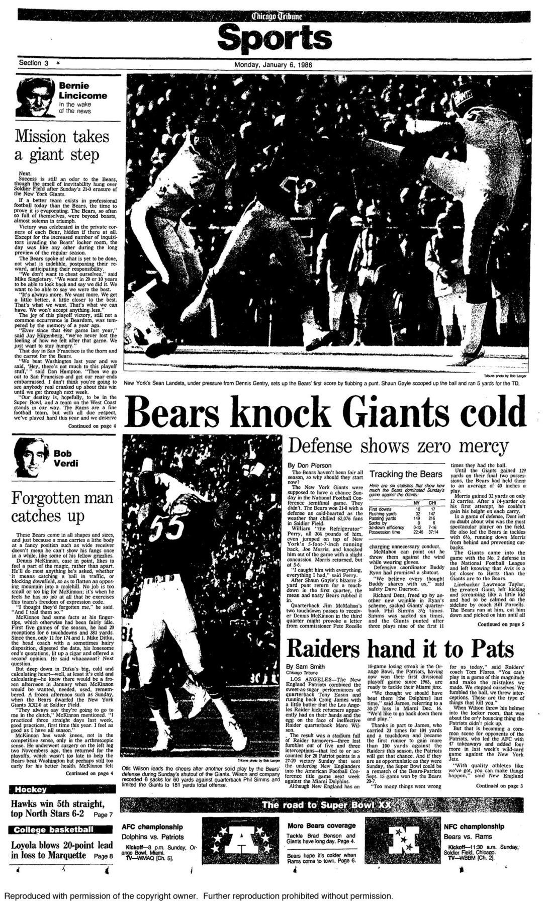 Jan. 5, 1986: Bone-chilling, crushing defense