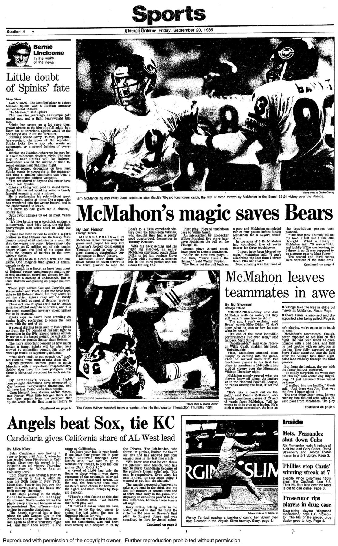 Sept. 19, 1985: McMahon's Minnesota Miracle