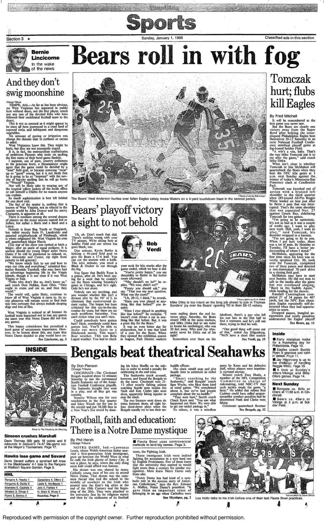 Dec. 31, 1988: Bears roll in with fog