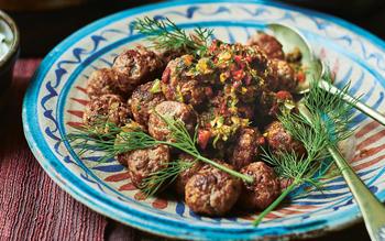 Spicy meatballs with adjika and yogurt