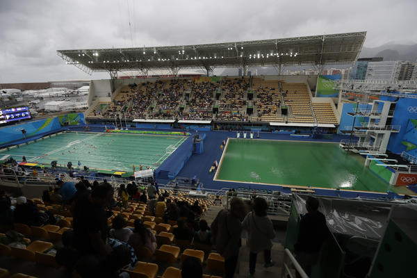The water polo, left, and diving pools on Wednesday morning (Matt Dunham / Associated Press)