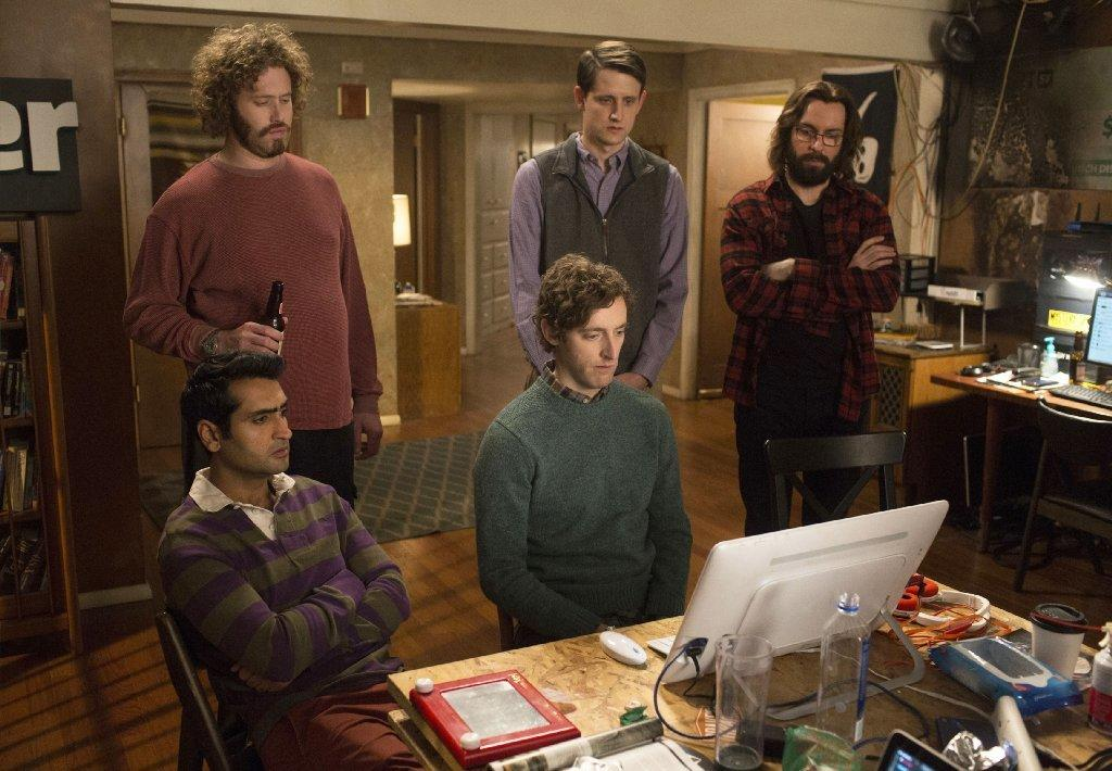 "Kumail Nanjiani, from left, T.J. Miller, Thomas Middleditch, Zach Woods and Martin Starr in ""Silicon Valley."" (Associated Press)"