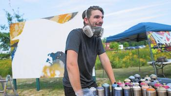 Artist sprays work around Dunes