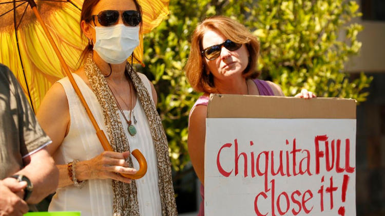 Val Verde resident Barbara Wampole and other activists protest the Chiquita Canyon Landfill outside Supervisor Michael Antonovich's office in Santa Clarita.
