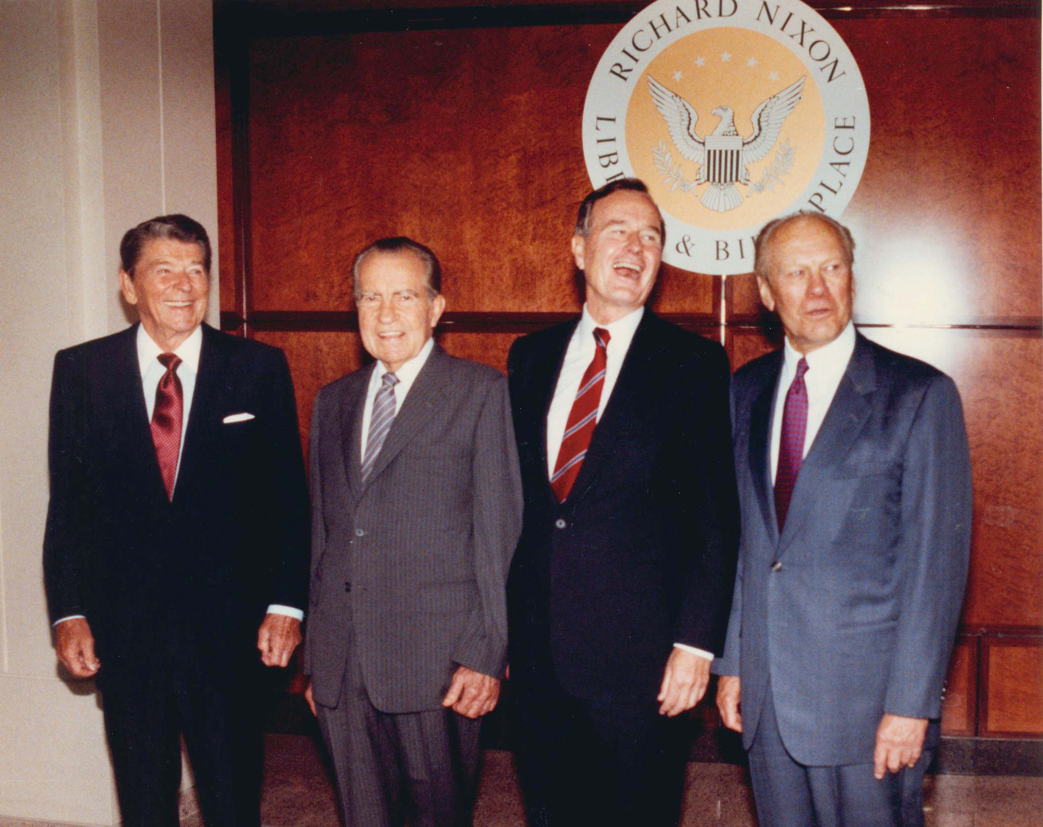 From left: Former presidents Ronald Reagan, Richard Nixon, George Bush and Gerald Ford gather for a the dedication of the Nixon Library in Yorba Linda on July 19, 1990.