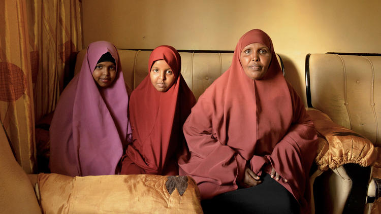 """Zainab Coladat, the wife of Abdul Khadir Farah, cannot sleep because she is so worried about his safety. """"We have nothing at all. No food, no rent. Nothing at all. I have nightmares...."""""""