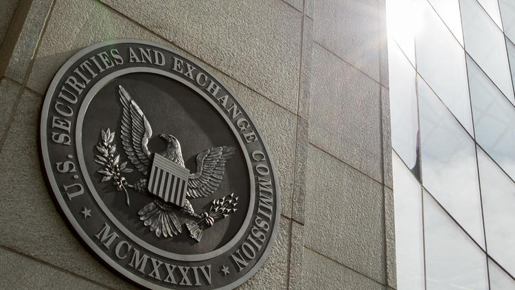 The U.S. Securities and Exchange Commission seal can be seen at its headquarters in Washington, D.C.