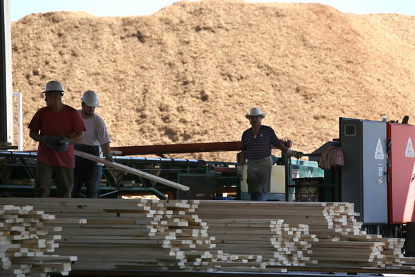 Workers sort out lumber at Shasta Green. Shasta Green sent biomass waste — giant mounds of wood chips, such as that in the background — to the neighboring Burney Forest Power plant, which burned up the byproducts to generate electricity.
