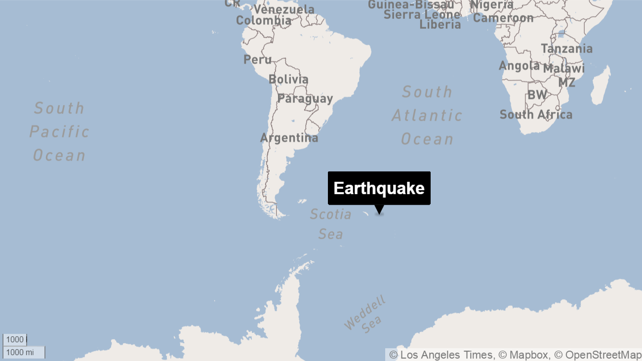 7.3 magnitude quake hits South Atlantic