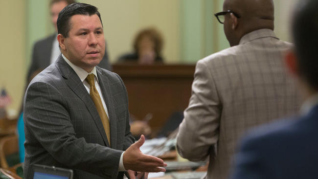 Assemblyman Eduardo Garcia (D-Coachella), who urged assmeblymembers to pass SB 32. (Rich Pedroncelli / Associated Press)