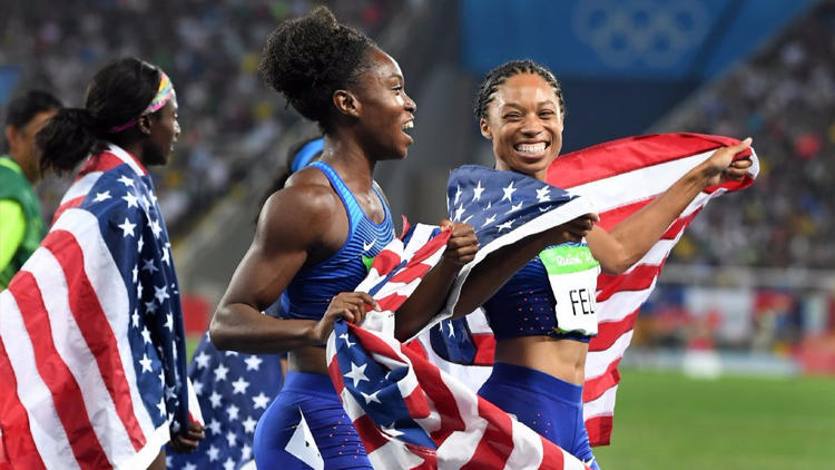 Tianna Bartoletta and Allyson Felix, right, celebrate after winning gold in the women's 400-meter relay at the 2016 Summer Games.