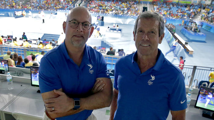 Bill Hanway, left and Doug Arnot work behind the scenes at the Rio Olympics to try to deliver the Summer Games to L.A. in 2024. (Robert Gauthier / Los Angeles Times)