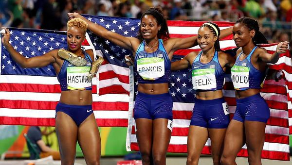 The U.S. women's 1,600-meter relay team -- Natasha Hastings, from left,