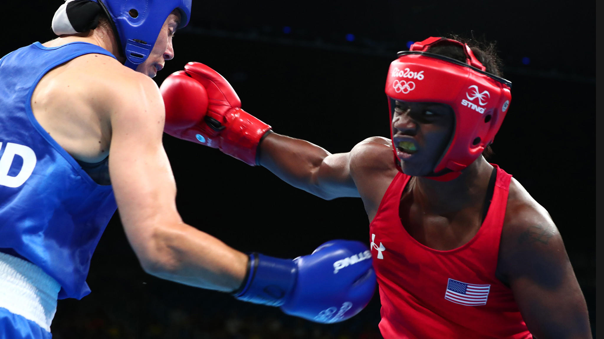 Claressa Shields fights her way to a gold medal over  Nouchka Fontijn of the Netherlands. (Robert Gauthier / Los Angeles Times)