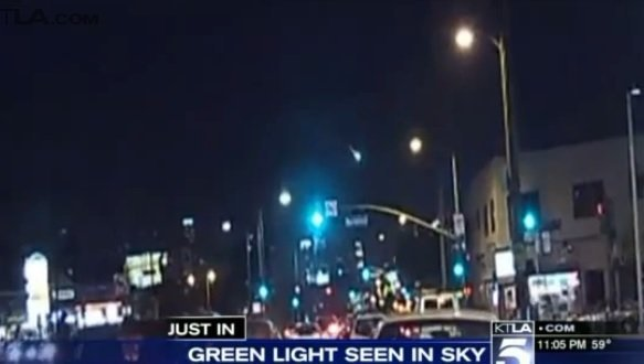 Big, bright green light streaks across So Cal night sky