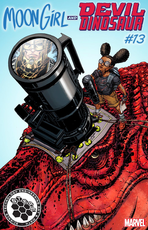 """Moon Girl & Devil Dinosaur"" No. 13 STEAM variant cover (science) by Joyce Chin."