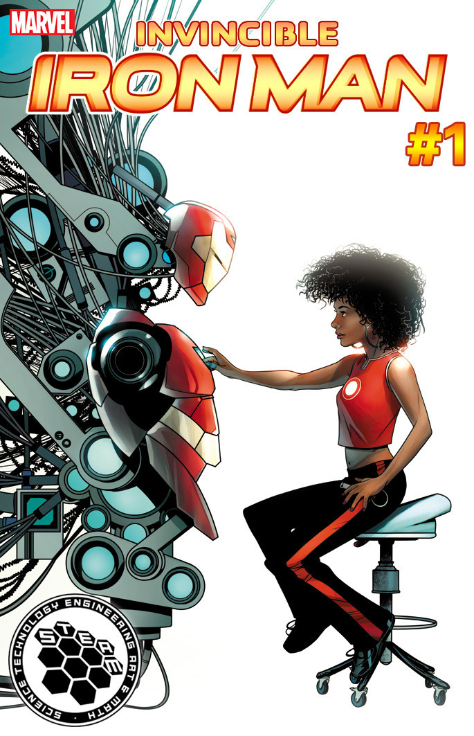 """""""Invincible Iron Man"""" No. 1 STEAM variant cover (engineering) by Mike McKone."""