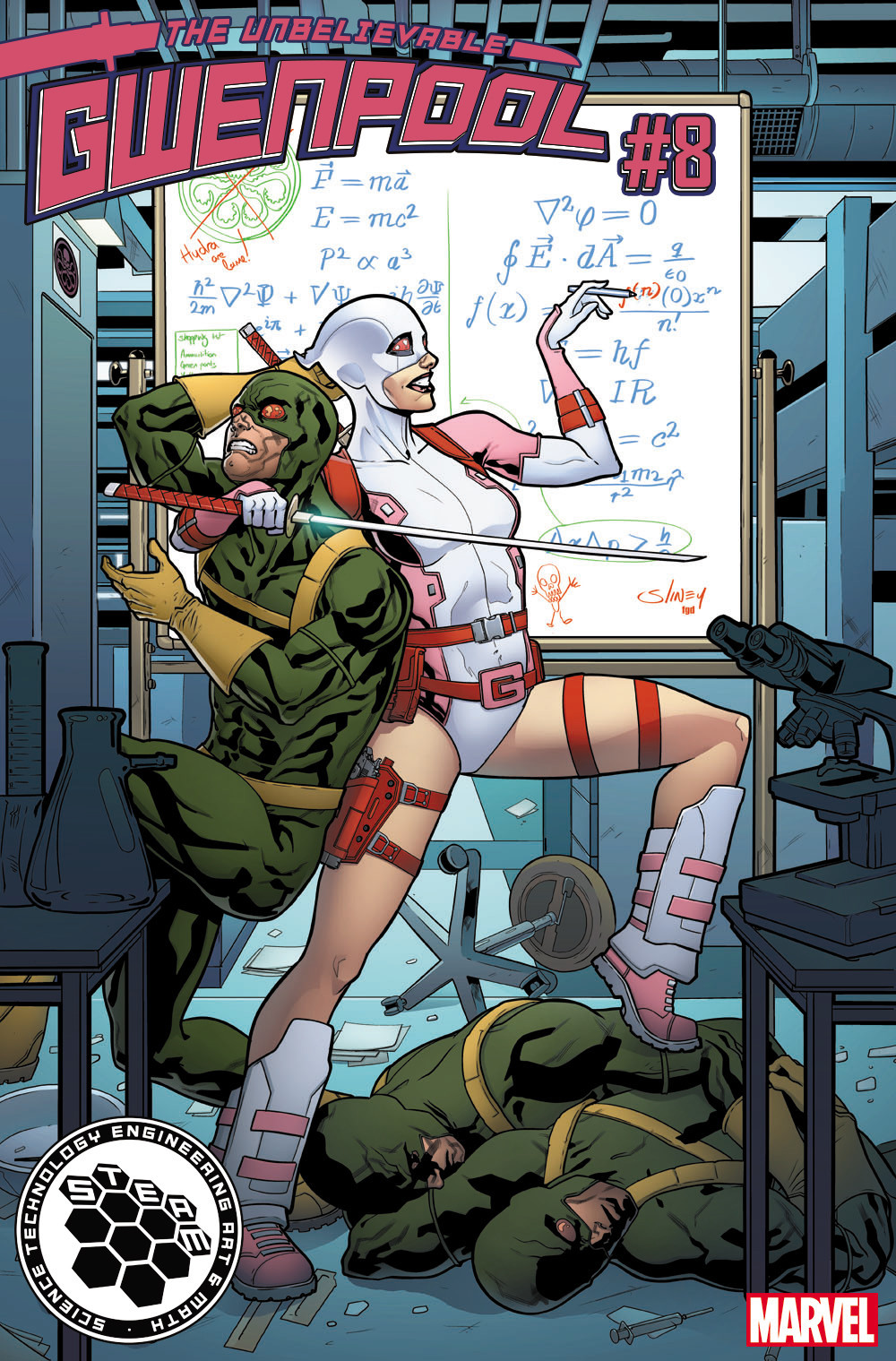 """""""Gwenpool"""" No. 8 STEAM variant cover (math) by Will Sliney."""