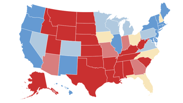 Weve Updated Our Electoral College Map Whats New LA Times - Map of us with states per electoral votes